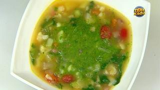 Суп Минестроне с добавлением соуса песто