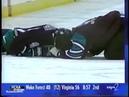 Darius Kasparaitis accidentally hits Jari Kurri's head with a knee (1996)