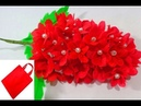 Making red flower bunches using old shopping bag- DIY Shopping bag flower Best out of waste idea