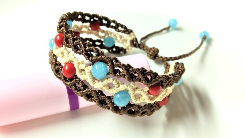 Macrame bracelet tutorial - The triple band with linking beads - Hướng dẫn thắt vòng tay ba sợi