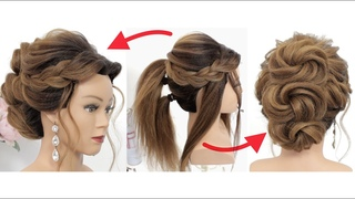 Simple Updo For Long Hair | Hairstyle With Texture Braids And Twists