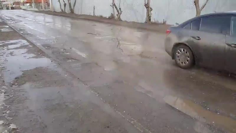 Дорога в Поливановке начала разрушаться после первой оттепели
