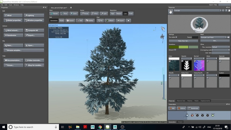 Bring animated trees from SpeedTree to Maya, create animated stand-ins and use them in MASH