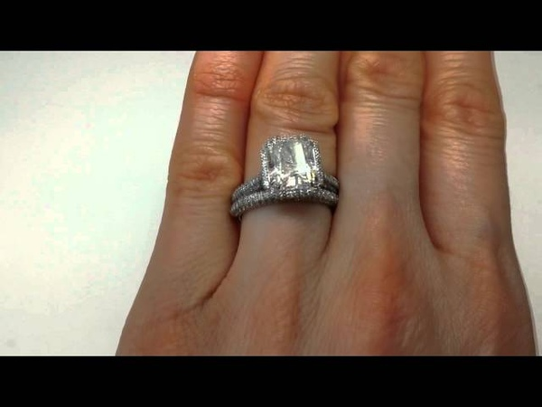 4.18 ctw Radiant Cut Engagement Ring and Wedding Band Set - BigDiamondsUSA