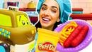 Игры в готовку с Пластилином Плей До! Готовлю игрушкам макароны с сосисками! Видео про машинки