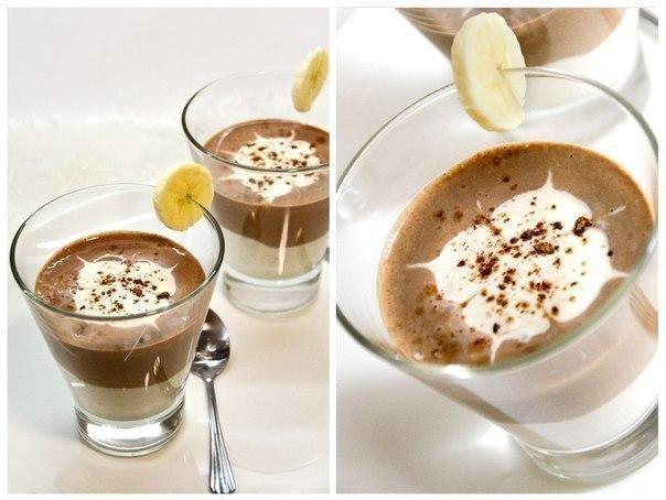 Творожно-банановый мусс для худеющих Ингредиенты:Творог пастообразный - 200 гБанан - 2 штМолоко - ¾ стаканаКакао-порошок - 1 ст.ложкаВанилин - по вкусуПриготовление:1. Для шоколадного