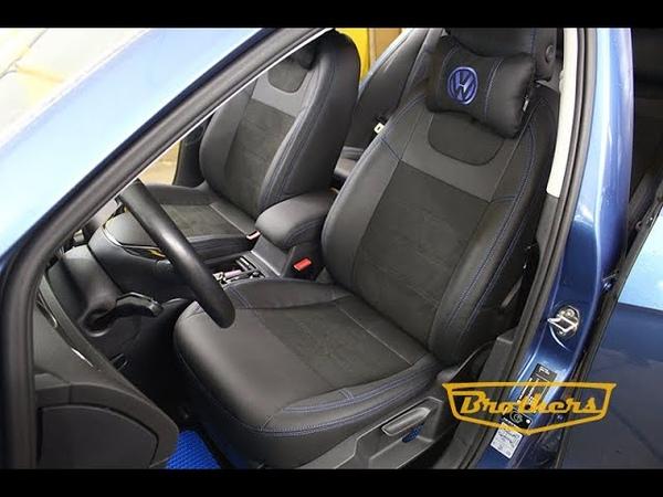 Чехлы на Volkswagen Golf 7 Comfort Line 2012 2017 серии Alcantara синяя строчка