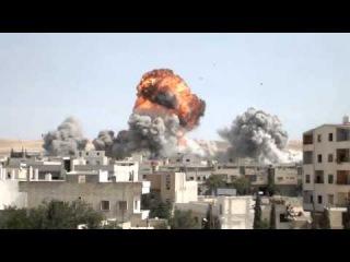 Авиаудар по г. Ябруд, мухафаза Дамаск, Сирия.