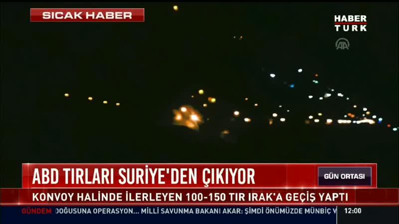 Телеканал HaberTürk показал эти видеокадры начала вывоза Штатами вооружения из Сирии на 150 грузовиках