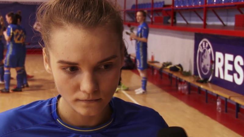 Анна Сидоренко - гравець жіночої збірної України з футзалу, коментар після матчів зі Словаччиною!