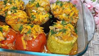 Очень ВКУСНО! Фаршированные КАБАЧКИ, БАКЛАЖАНЫ и ПОМИДОРЫ запеченные в духовке. Овощи в духовке.
