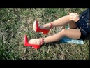 My Legs in Nude Nylon Tights! Red Shoes with Steel Heels!