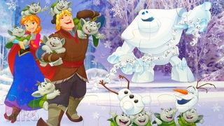 Анна и Кристофф со снеговиками - собираем мягкие пазлы Холодное Сердце