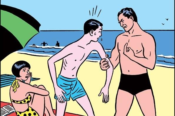 Муж с женой загорают на пляже. Муж, щуплый человек небольшого роста, заметил, что его жена не отрывает глаз от сидевшего неподалеку крупного, мускулистого красавца. Не выдержав, муж обращается к жене: