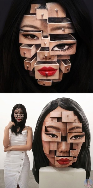 Необычные оптические иллюзии Дейн Ю. Кореянка Дейн Ю студентка Национального университета искусств, которая создает поразительные оптические иллюзии на собственном теле с помощью грима. Она