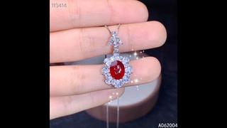 Женское ожерелье из серебра 925 пробы с натуральным рубином