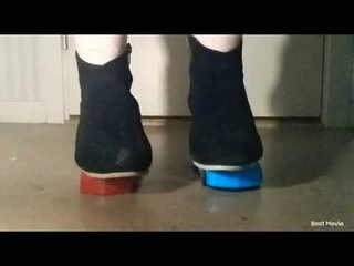 heavy girl crush two small toys cars with boots ASMR