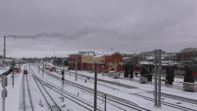 Железнодорожный вокзал город Орёл 2020 год мост поезд первый снег видео снимал Геннадий Горин