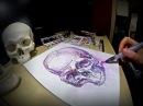 Speed drawing watercolors - 'Purple skull'
