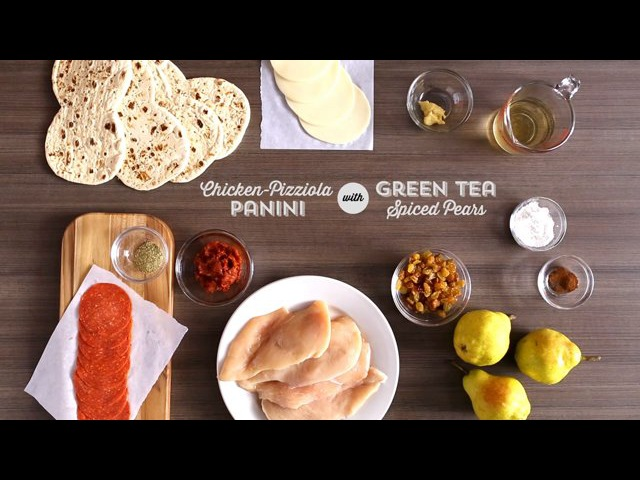 Publix Aprons Cooking School Chicken Pizziola Panini with Green Tea Spiced Pears