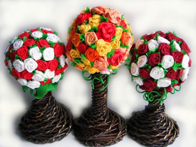 ▬► Цветы из бумаги Часть IV Топиарий Flower topiary