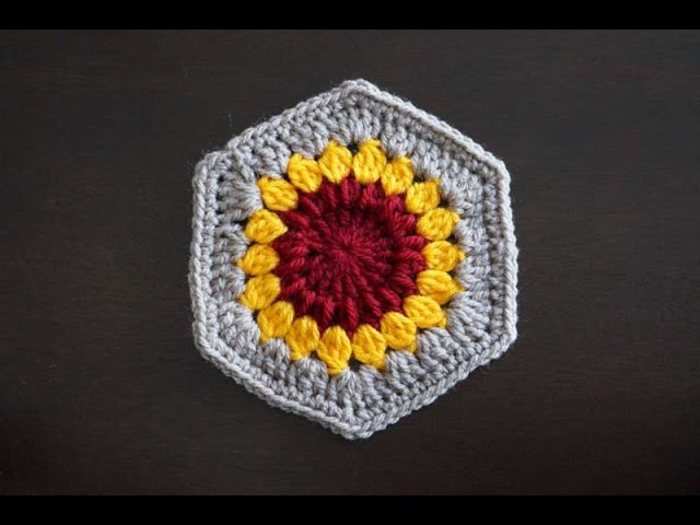 Шестиугольный мотив Подсолнух / Crochet hexagon