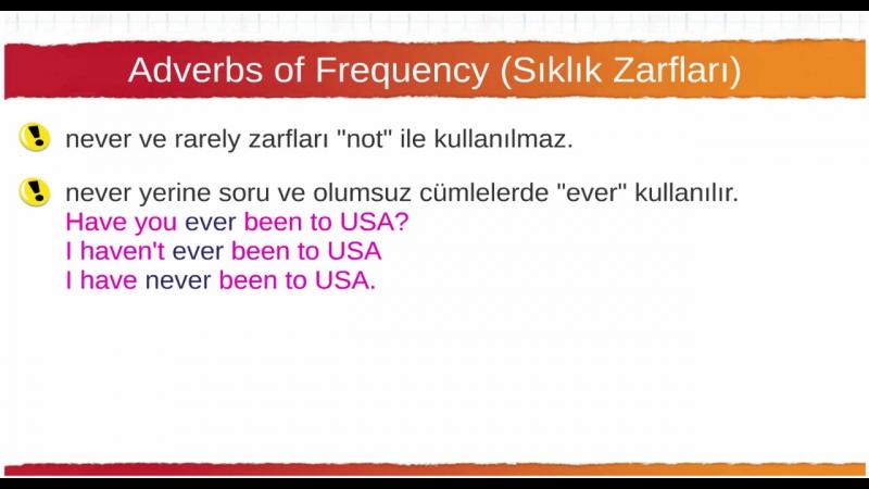 038a Adverbs of Frequency Sıklık Zarfları Kuralları