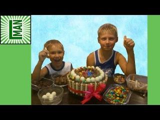 Украшаем праздничный торт для мамы.Конфеты Джелли Белли.Decorate a cake for mom