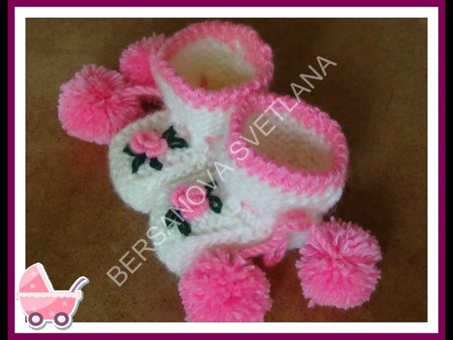 Пинетки с розочками или как связать пинетки спицами how to knit booties spokes