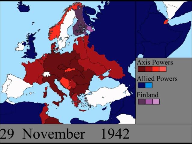Вторая Мировая Война на карте Европы день за днём.