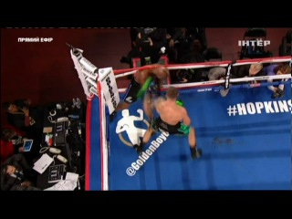 Joe Smith just knocked Bernard Hopkins out of the ring and out! #crazy joe smith just knocked bernard hopkins out of the ring an