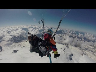 Paragliding at the top of Europe Elbrus 5642 m.