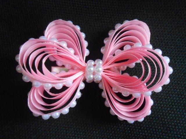 Оригинальный бант из узкой ленты МК DIY Original bow of narrow ribbon 57