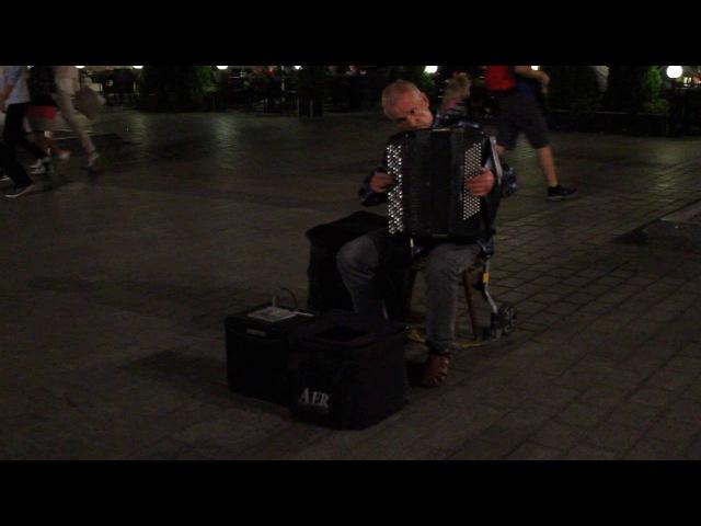 Шторм Вивальди в исполнении баяниста-виртуоза. Краков, рыночная площадь