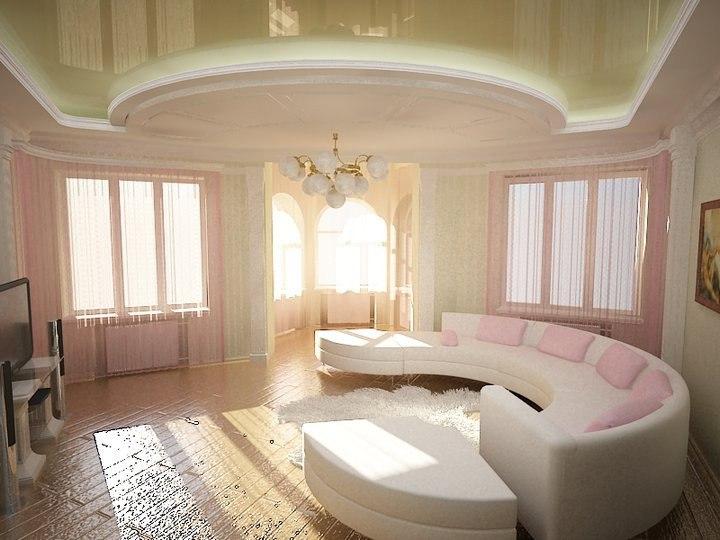Как выбирать натяжные потолки в гостиную?, изображение №5