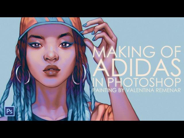 Adidas - digital painting progress (speed drawing)