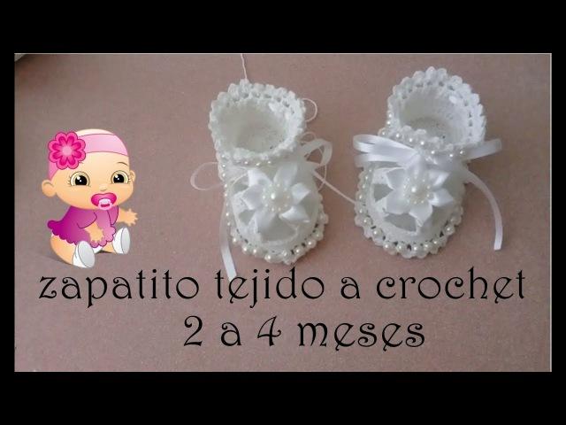 Zapatitos para bautizo a crochet -bebe- 2 a 4 meses