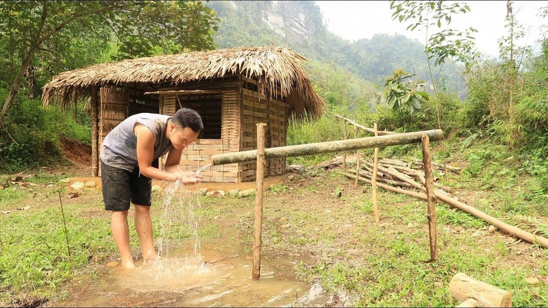Primitive technology Irrigation Water supply by bamboo tube for farming and living