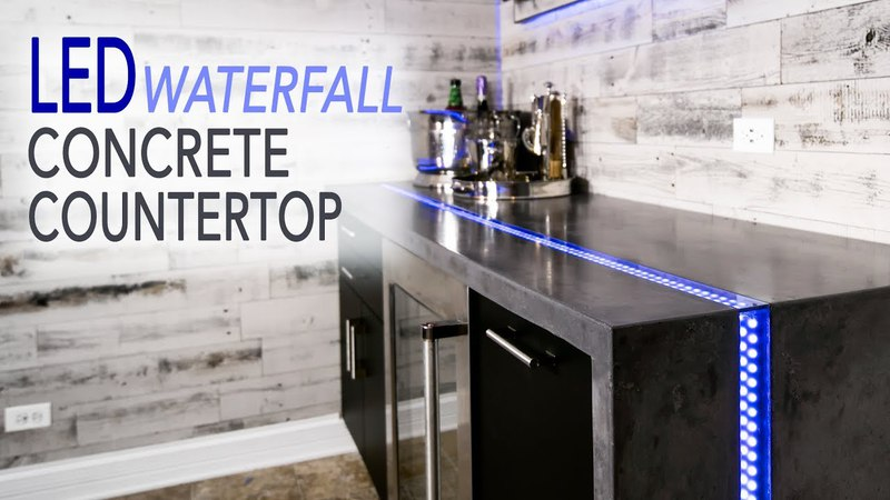 Waterfall Concrete Countertop w LED River Inlay || Mancave Ep 1 || DIY