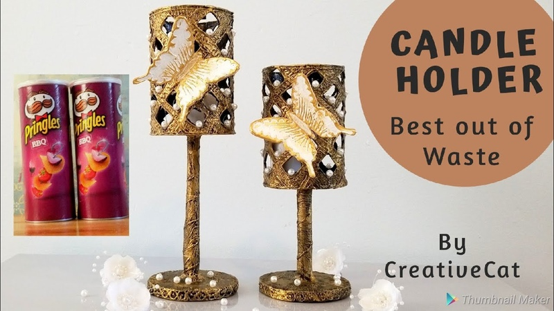 Pringle can Craft Candle Holder Best out of waste art and craft