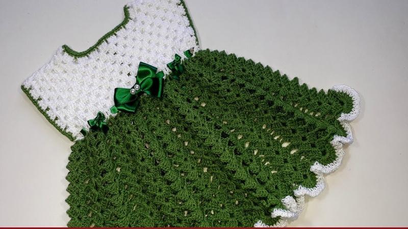 VESTIDO BEBE A CROCHET (GANCHILLO) tutorial paso a paso - CROCHET BABY DRESS step by step tutorial