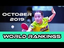 Table Tennis World Rankings October 2019