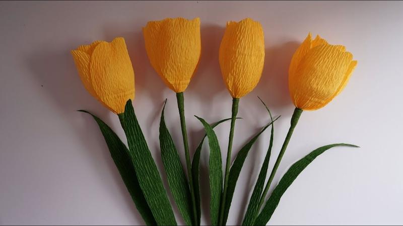 Como hacer flores de papel muy facil / Tulipan de papel crepe