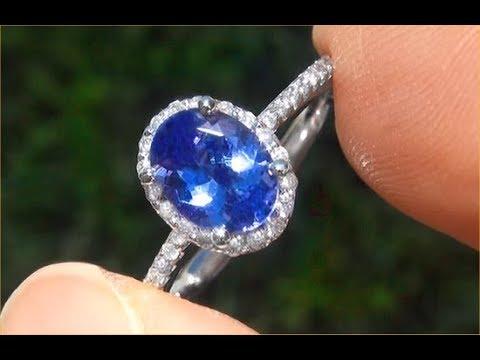 Certified Jewelry VVS2 Natural Tanzanite Diamond 14k White Gold Ring Tiffany Co.