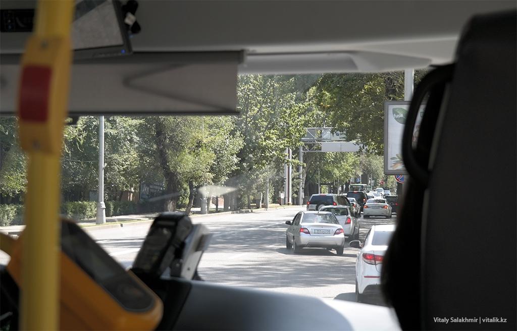 Достык выше Аль-Фараби, поездка на автобусе 2019