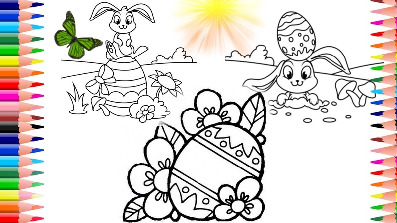 Come disegnare uovo di pasqua e coloriamo un disegno lepre pasquale collezione 3 video per Pasqua