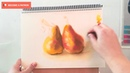 How to draw pears with soft pastels