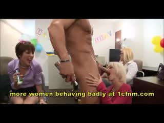 Real office milfs go wild for strippers