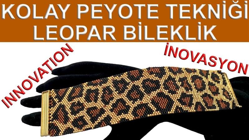 Kolay peyote tekniği leopar desen bileklik 30 boncuk (Easy peyote leopard pattern bracelet 30 beads)