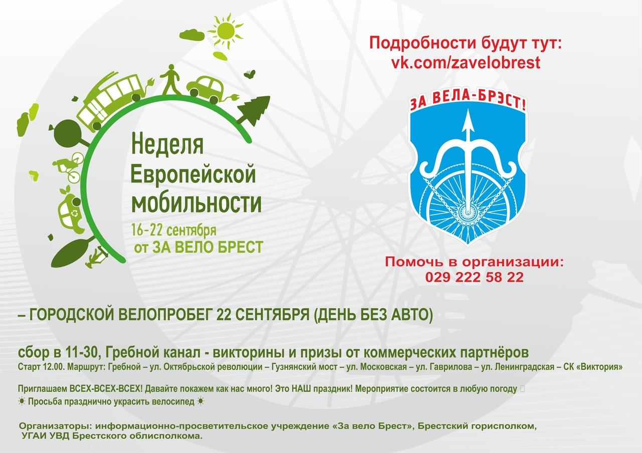 Брестчан приглашают принять участие в городском велопробеге в честь Дня без автомобиля